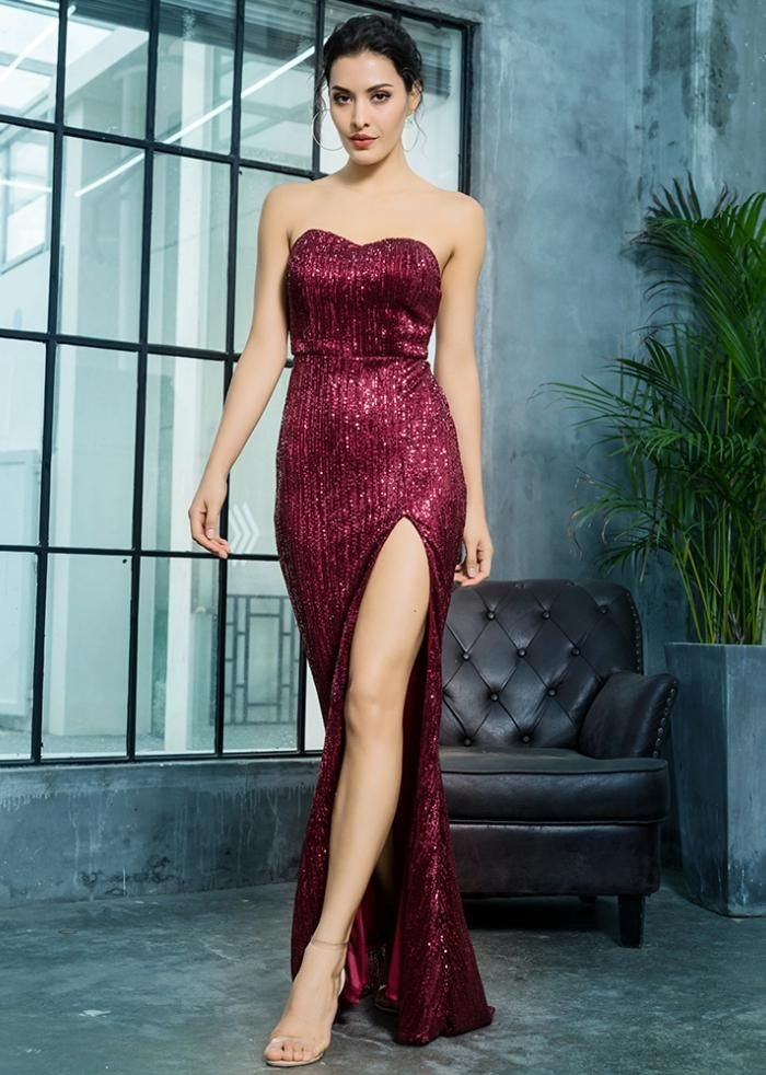 60485dc7ec Wine Red Maroon Sequined Straless Maxi Prom Homecoming Mermaid Long Train  Slit Maxi Dress