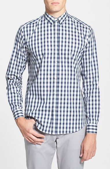 Men's Theory 'Zack' Slim Fit Gingham Sport Shirt