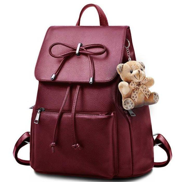 sac à dos cuir femme couleur bourgoundi avec