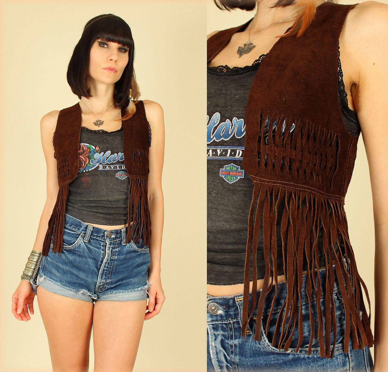ViNtAgE 60's 70's Suede Fringe Cropped HiPPiE Bolero Vest. $78.00, via Etsy.