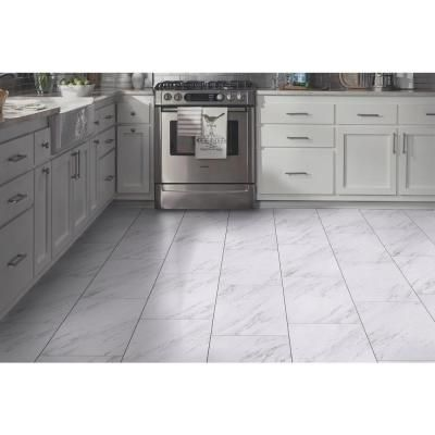 Trafficmaster 12 In X 24 In Peel And Stick Carrara Marble Vinyl Tile Ss1212 The Home Depot Vinyl Tile Marble Vinyl Kitchen Backsplash Peel And Stick