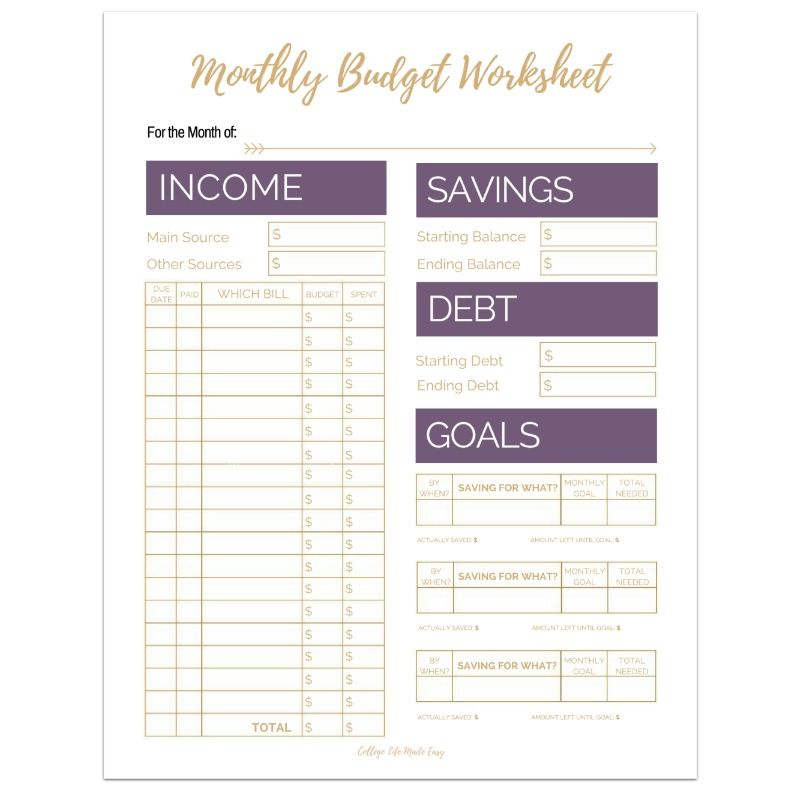 Editable Monthly Budget Worksheets (Set of 3) Monthly budget