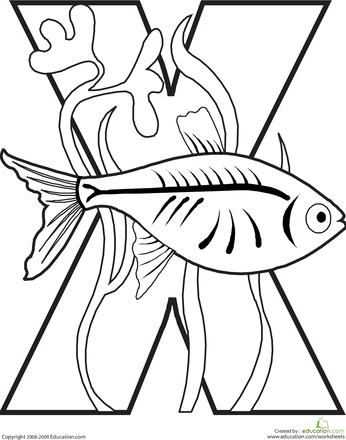 worksheets letter x coloring page