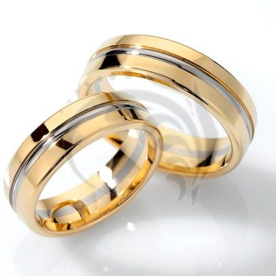 unique 14k white and yellow gold couple wedding rings 6 mm - Couple Wedding Rings