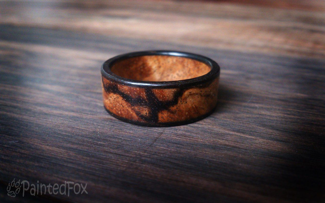 ebony on aboutjewelry with inlay lathe etsy pin wood silver rings by ring