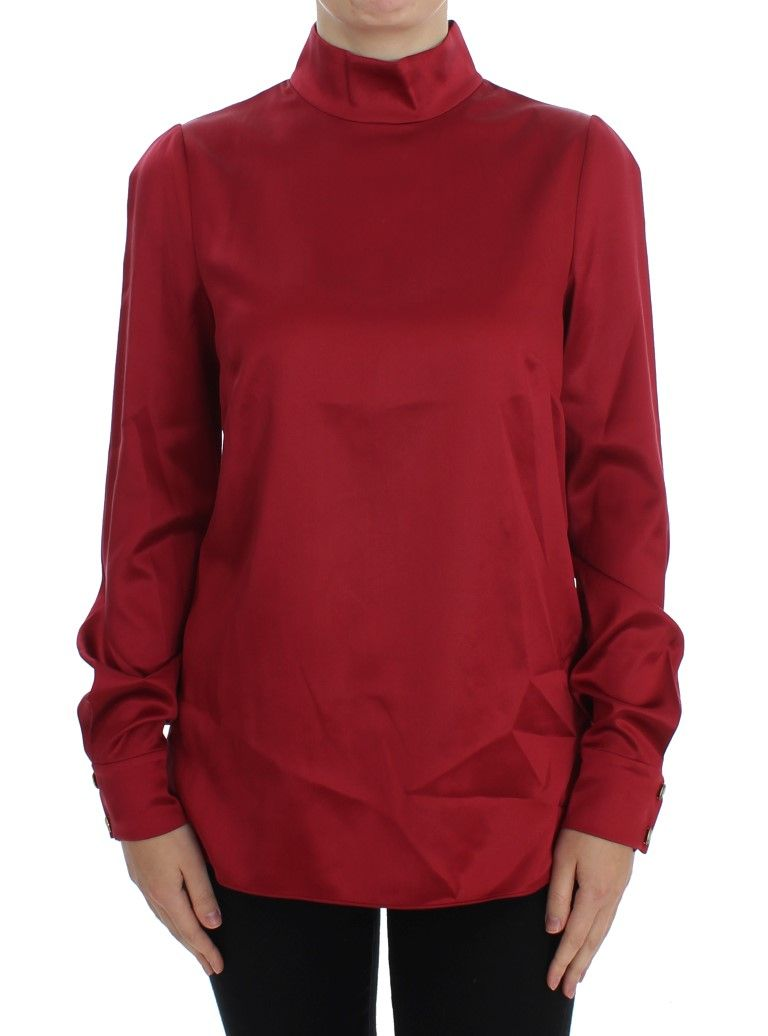 40aaf790f4ef6f  DolceGabbana  TopsTShirts Red Silk Stretch Blouse Turtleneck Top