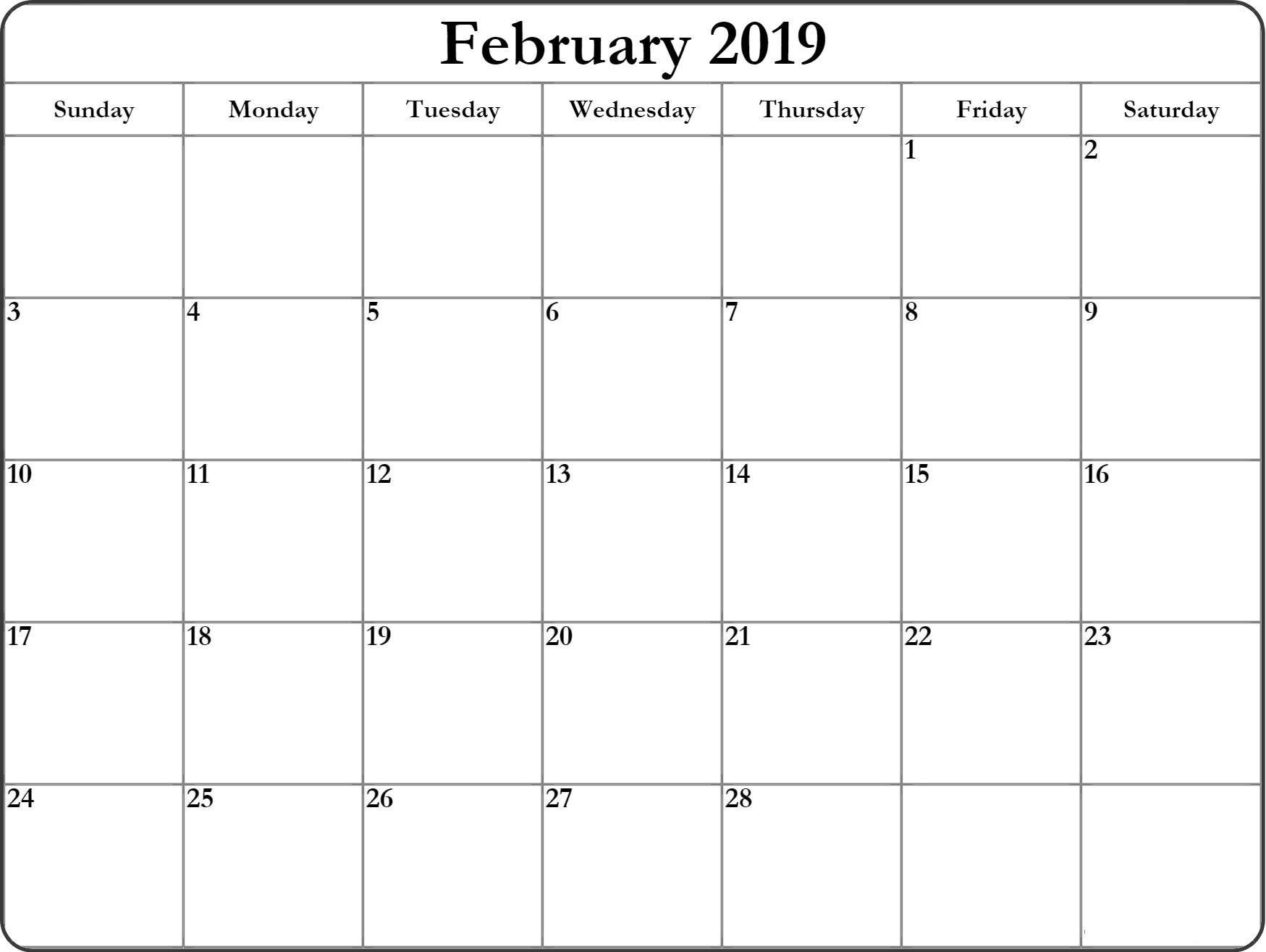 February 2019 Large Calendar February Calendar 2019 Large | February Calendar 2019 Manage Work