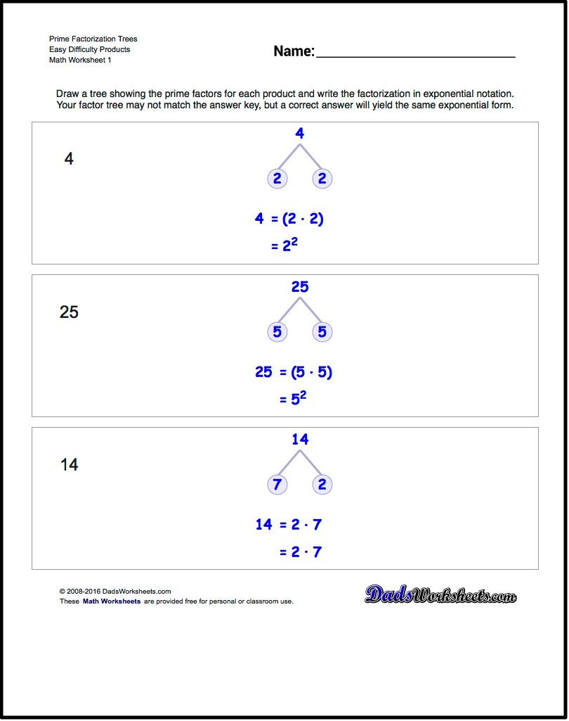 Worksheets Factor Tree Worksheets these worksheets require trees to determine the prime factorization of a number including showing expanded and exponential for