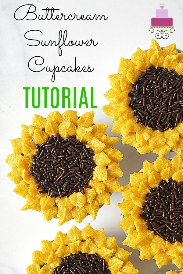 Sunflower Cupcakes - Chocolate Cupcakes with Edible Sunflower Toppers