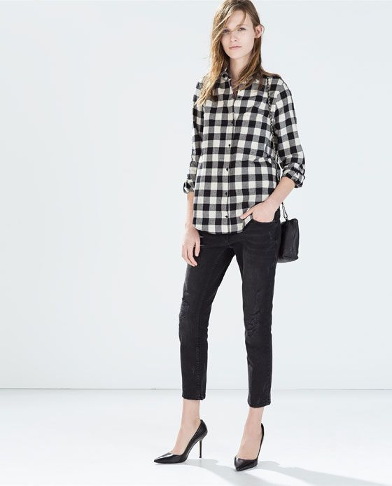 63ffc6c0ea3 ZARA - COLLECTION SS15 - CHECKED SHIRT WITH POCKET BLACK AND WHITE ...