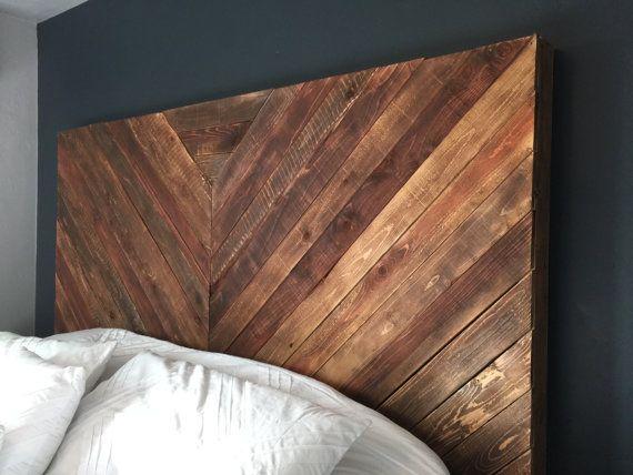 A Beautiful Hand Crafted Chevron Wood Headboard Reclaimed