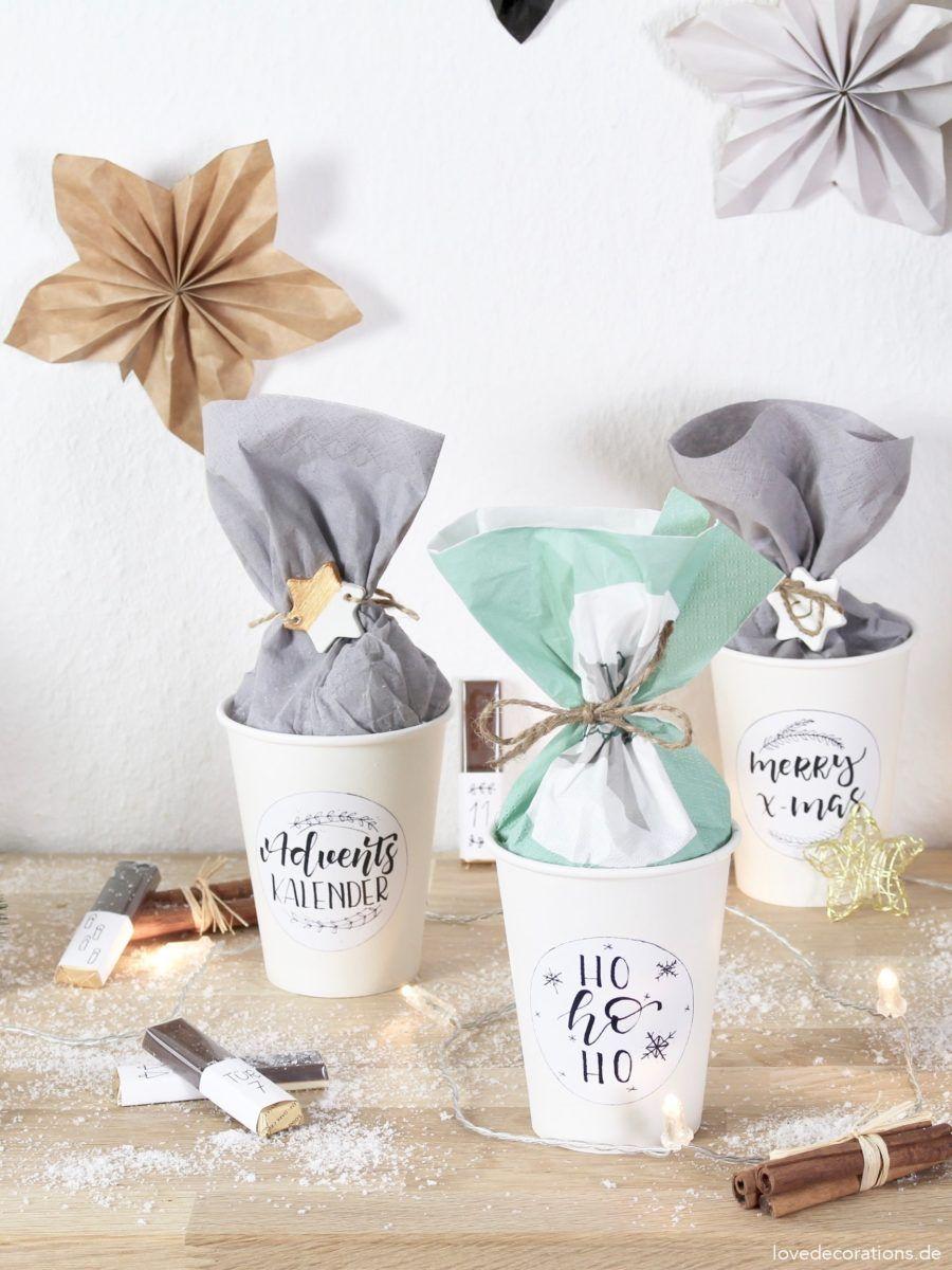 DIY Schokoriegel Adventskalender im Pappbecher - Love Decorations