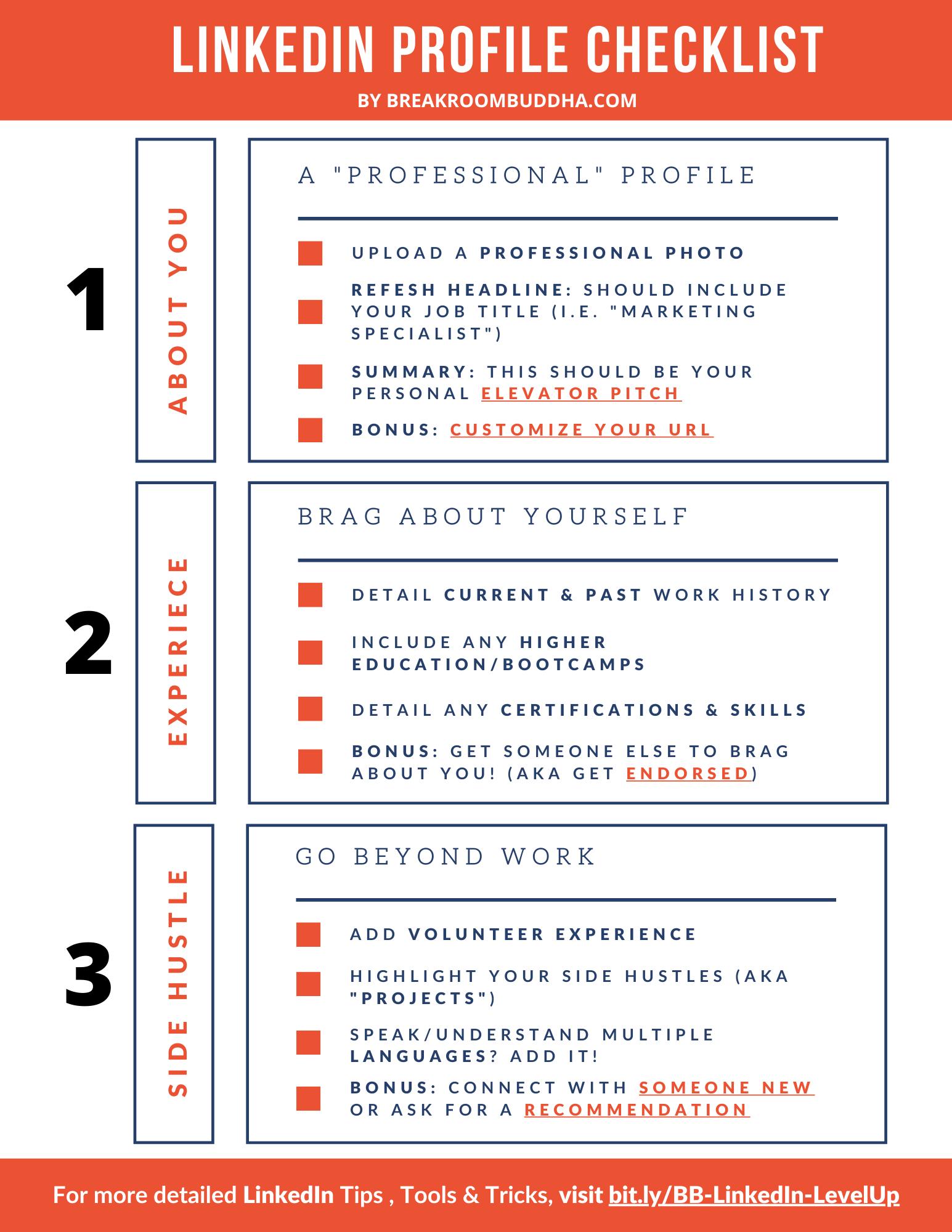Linkedin Profile Checklist Linkedin Profile Resume Checklist