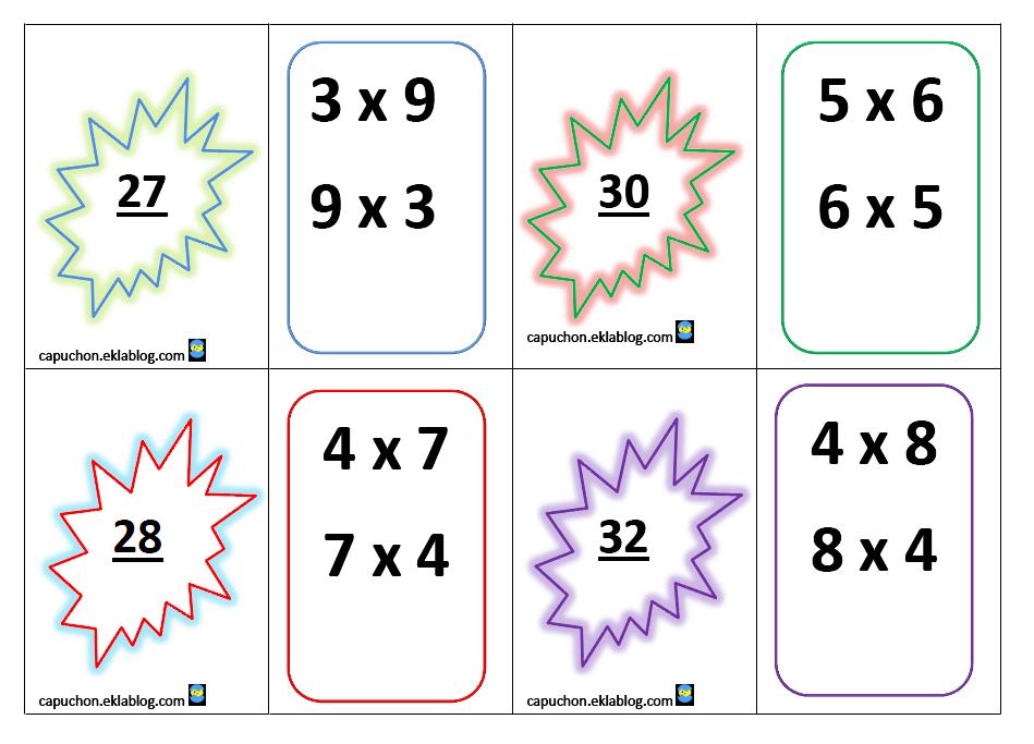 Jeu de cartes les tables de multiplication - Table de multiplication a imprimer ...