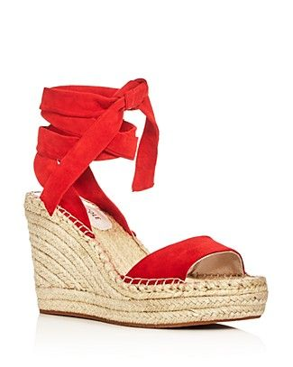 aed32a7c627 Kenneth Cole Odile Ankle Tie Espadrille Wedge Sandals