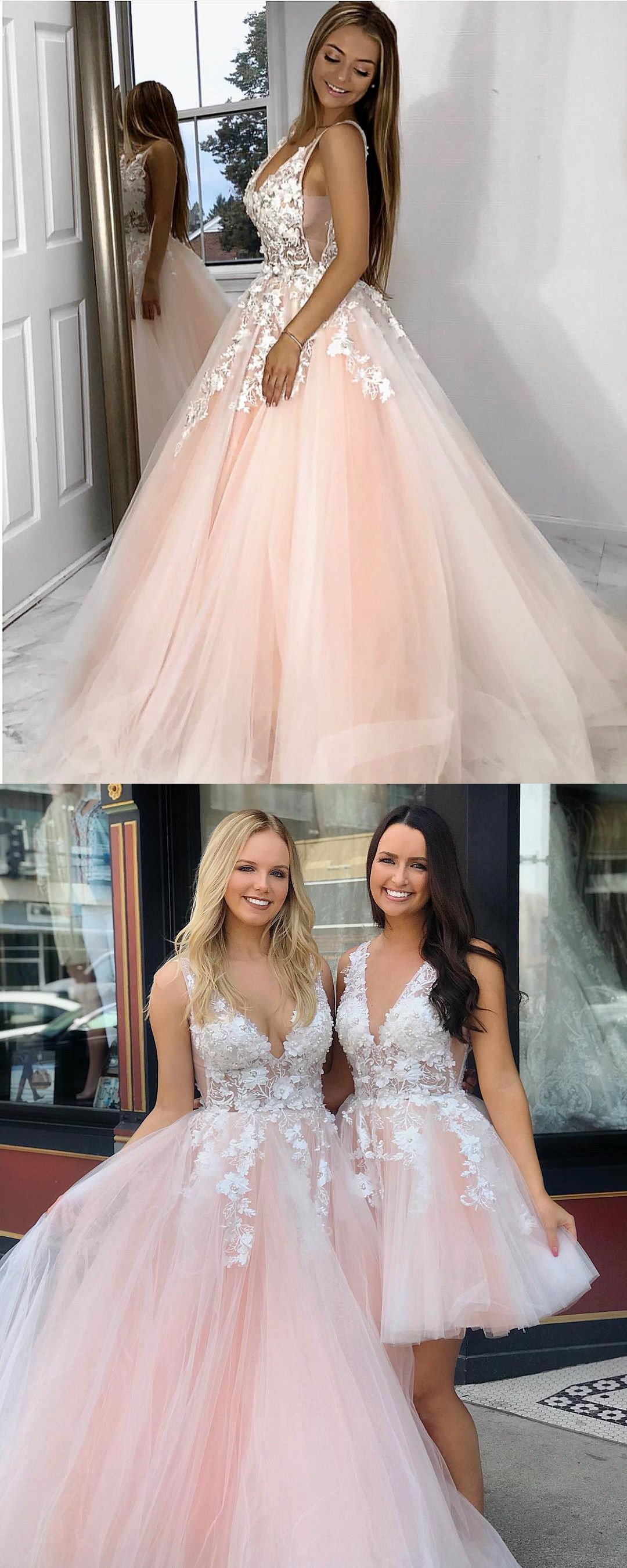 Pink Long Prom Dress With White Lace 2019 Promo Dress Sweet 16 Dress Quinceanera D Prom Dresses Long Pink Prom Dresses For Teens Prom Dresses For Teens Long [ 2699 x 1080 Pixel ]