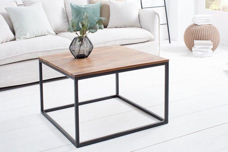 Table De Salon Contemporaine De 70cm En Bois Massif Et Metal Coloris Naturel Et Noir Table De Salon Table Basse Table Basse Bois
