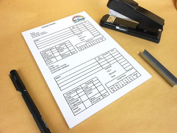 A5 order form pad - notepad customised with your logo 2 orders per - custom order form
