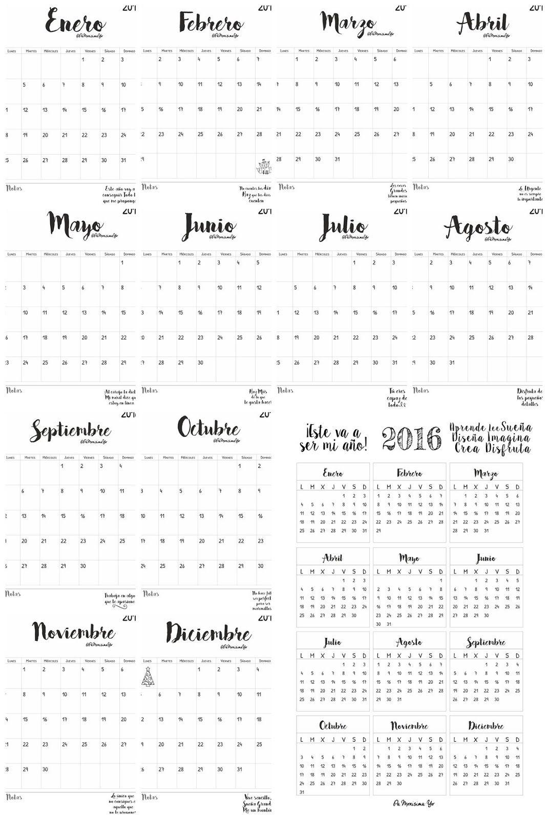 Calendarios mensual y anual 2016 @pamonisimayo