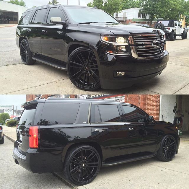 Blacked Out On Them Koko S Tahoe Ltz 26s Chevy Tahoe Chevy Wheels Black Tahoe
