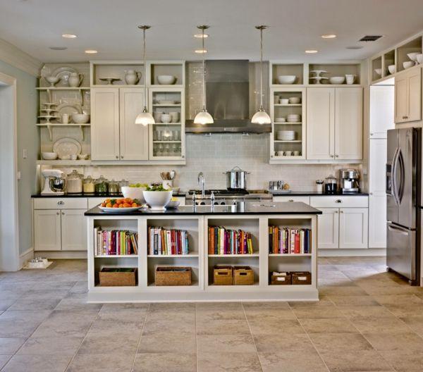 die alte küche neu gestalten arbeitsplatte bücherregale - offene ...