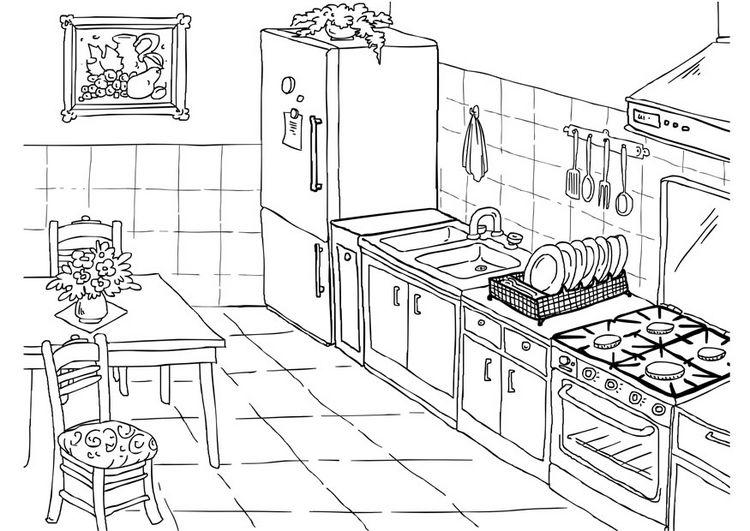 Desenho De Casas Simples Para Colorir: Desenhos Para Colorir - Cozinha Para Colorir