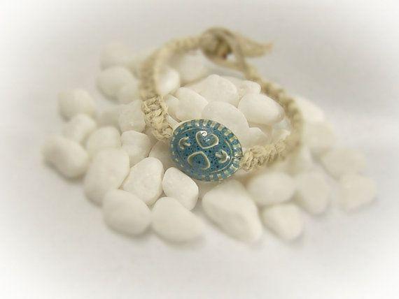 Hart armband hennep armband Boho armband hart door Jewelrywizard