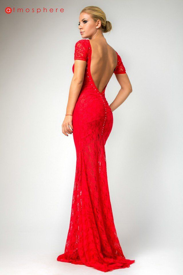 Backless Red Bridesmaid Dress
