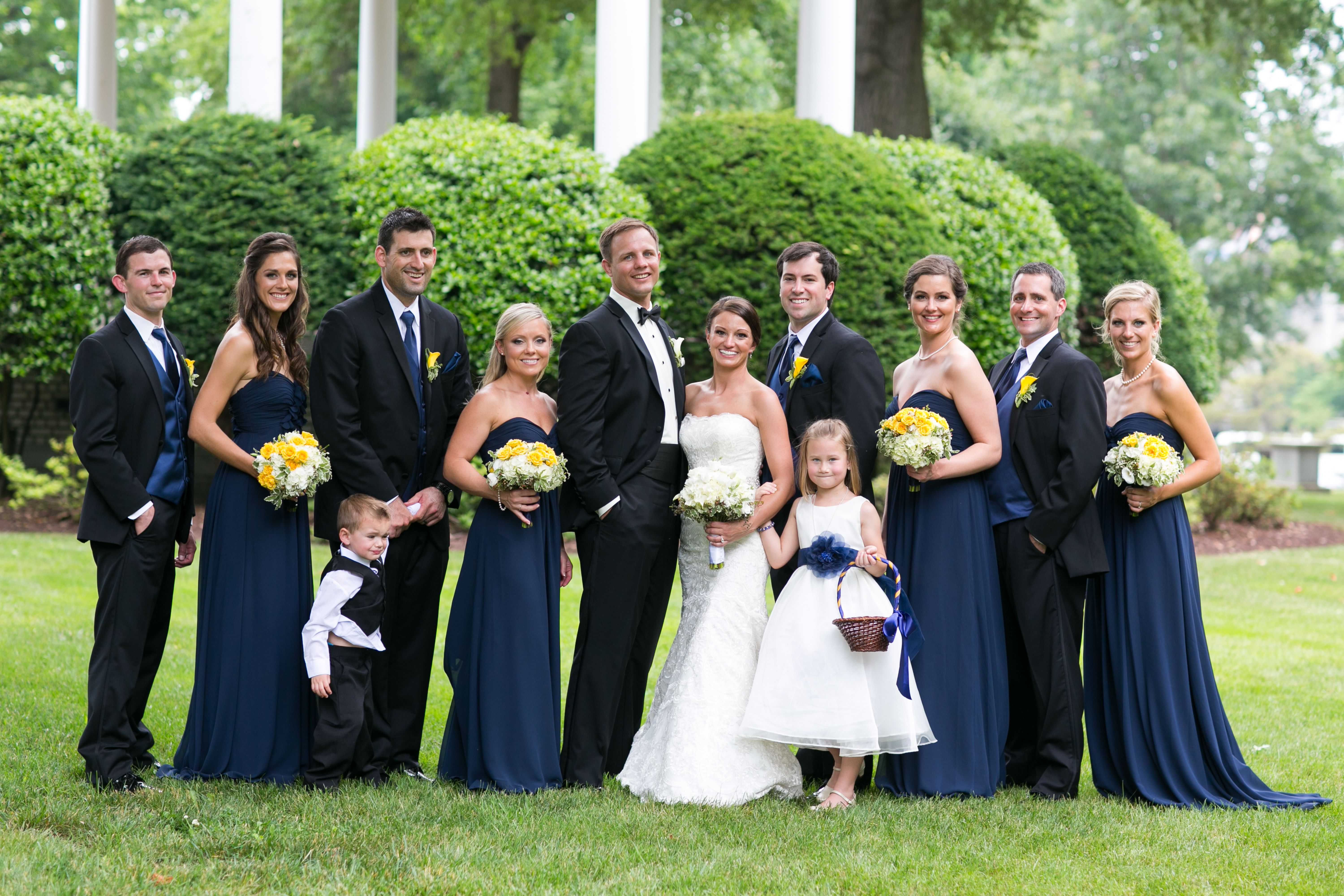 Bill levkoff long navy bridesmaid dresses bridesmaid for Navy blue and white wedding dress