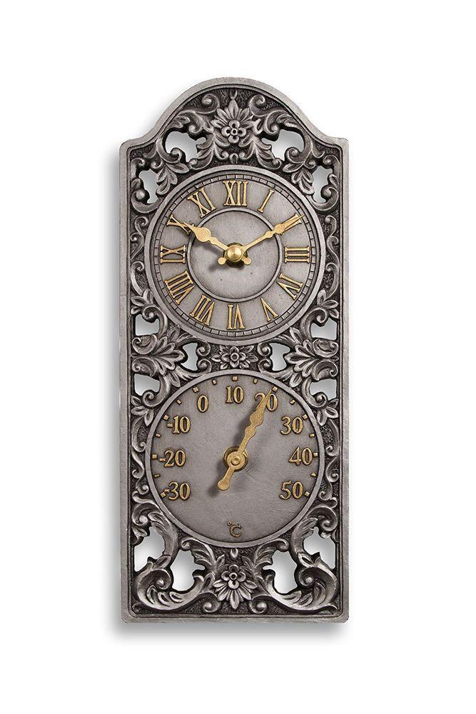 Vintage Garden Indoor Outdoor Wall Clock U0026 Thermometer Station Clock Roman  Dial