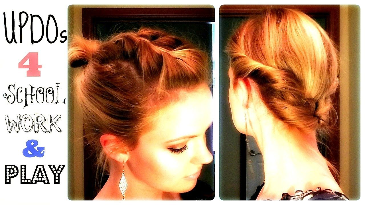 quick updos school work and play hair u more pinterest