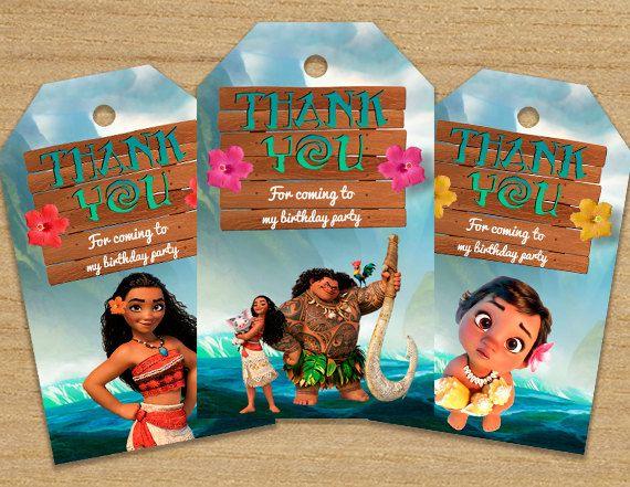 Moana card Baby Moana thank you card Moana party decoration Moana birthday thank you card with photo Moana gift tag Moana favor cards