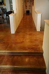 Acid Stained with Padre Brown 4500. Radiant heat coils for a cozy interior. (Tom Ralston concrete)