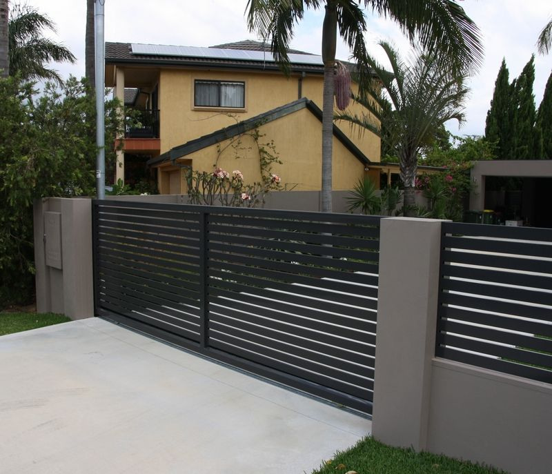 Ox works sliding aluminium driveway gates google search for Modern house gate