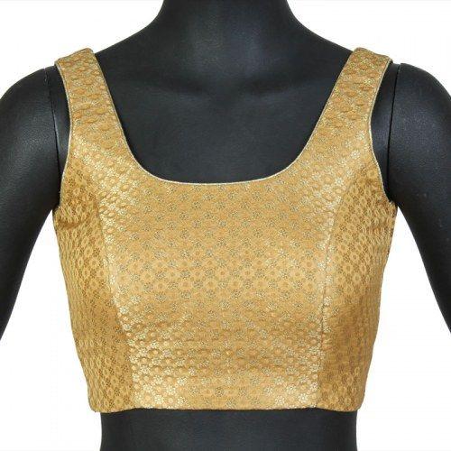 23d7e6813 Simple Gold Brocade Blouse