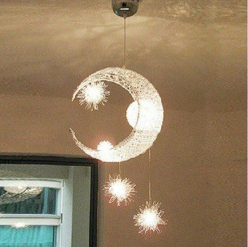 Nursery Free Shipping Bedroom Moon Stars Modern Ceiling Light Lighting Lamp