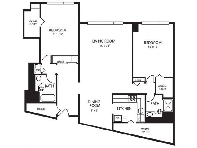 Two bedroom floor plan of property renaissance city apartments renaissance city apartments 2 bedroom apartments in downtown detroit