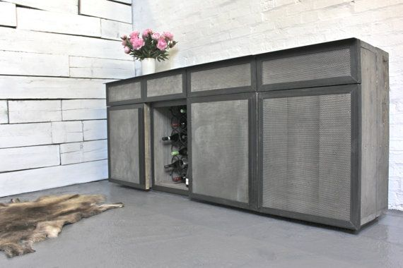 Made to Order Reclaimed Grey Washed Scaffolding Board and Perforated Steel Clad Chest Sideboard with Steel Handles - www.inspiritdeco.com