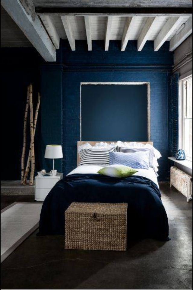 Dark Blue Bedroom More Natural Wood Color Blue Bedroom Walls