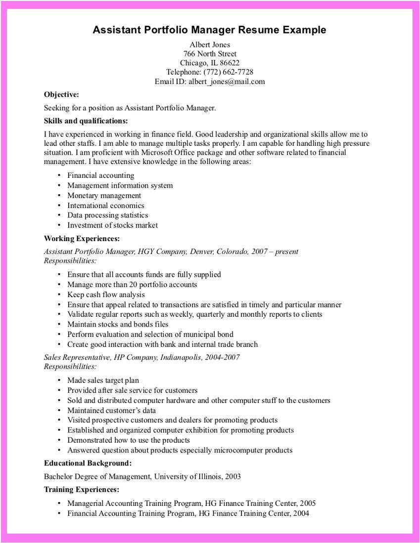 sample portfolio for job application