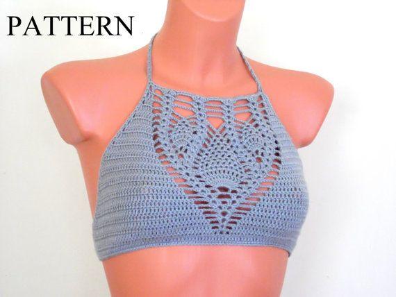 Crochet patrón Top Halter patrón Top Halter por LOVEKNITCROCHET ...