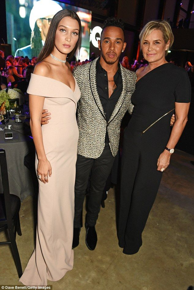 Meet and greet  Bella and Yolanda rubbed shoulders with Lewis Hamilton at  the event 431148507