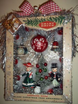 Shiny Brite Vintage Christmas Ornaments Shadow Box Wreath