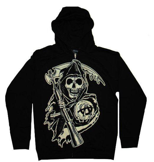 Amazon Com Sons Of Anarchy Grim Reaper Anarchy Samcro Tv Show Zip Up Hoodie Sweatshirt Clothing Sweatshirts Sweatshirts Hoodie Hoodies