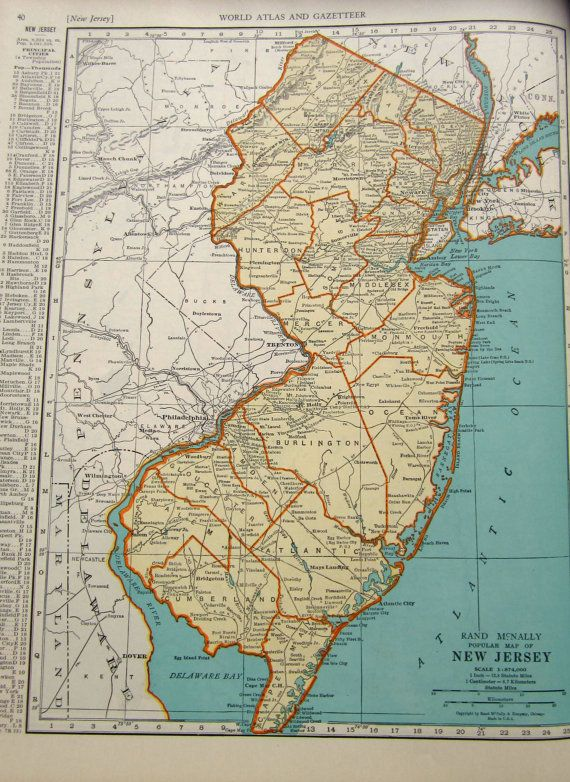 1935 New Jersey Map From Vintage World Atlas By Drivingmissshirley, $9.50
