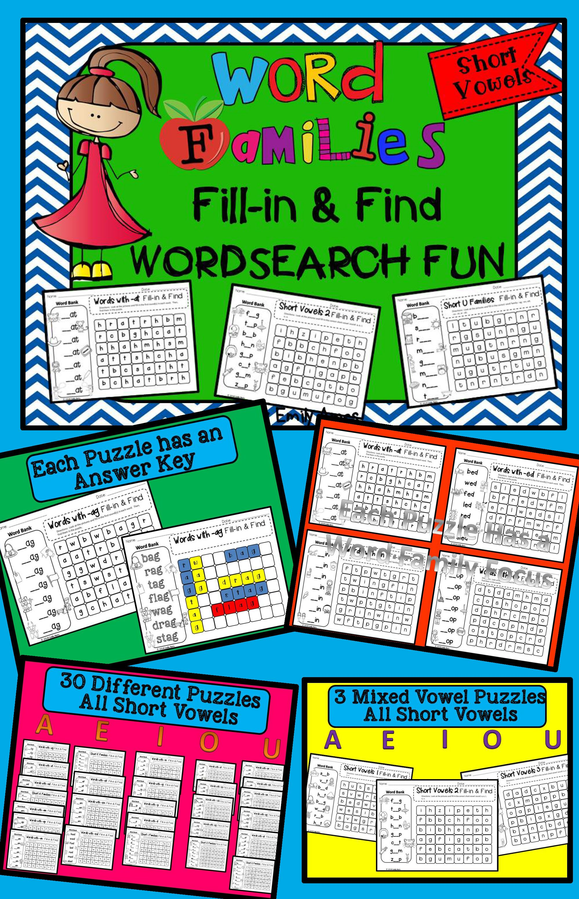 Word Families Fill In And Find Wordsearch Packet Short