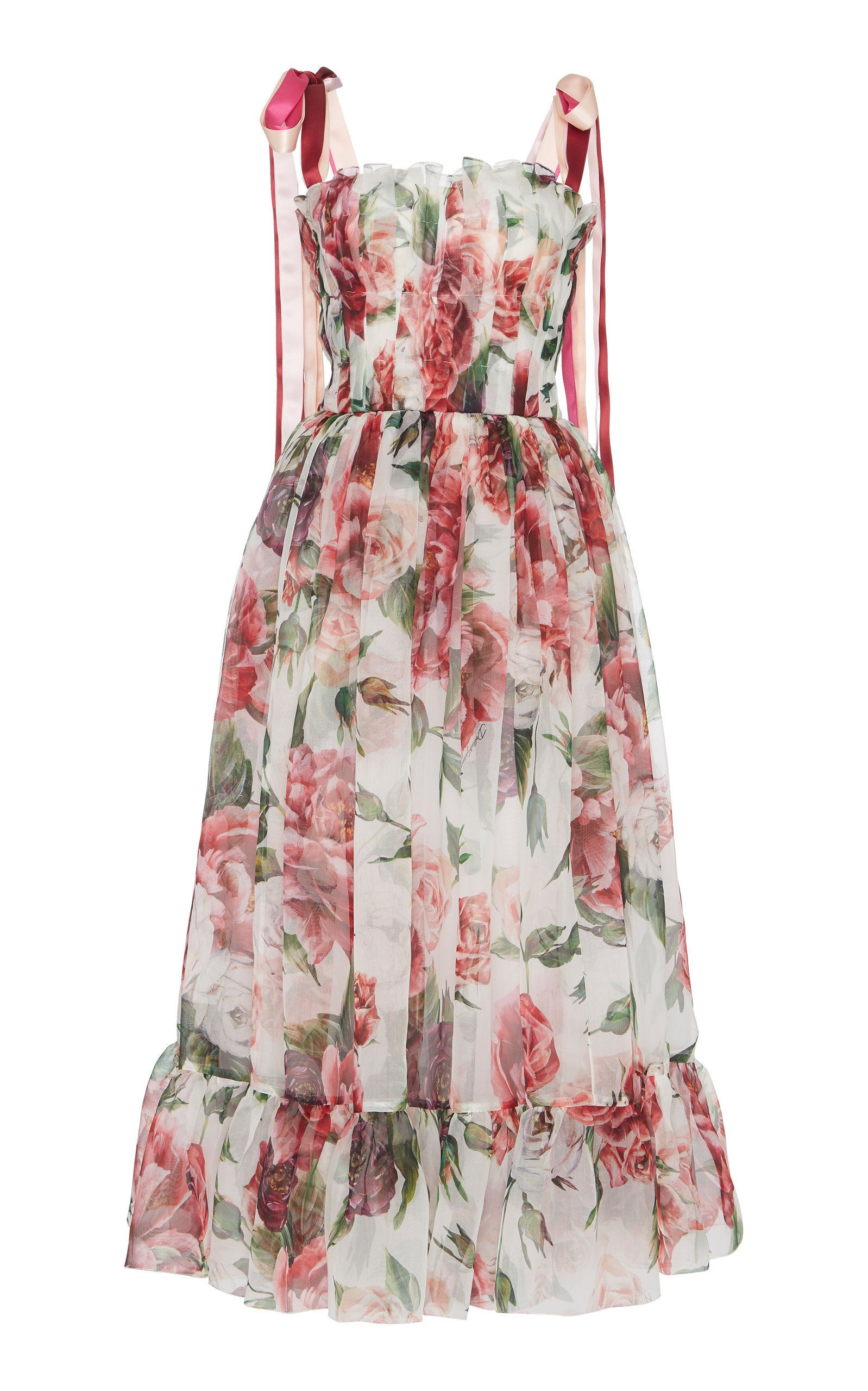 dbb01d0b041 Peony-Print Organza Midi Dress by DOLCE & GABBANA Now Available on Moda  Operandi