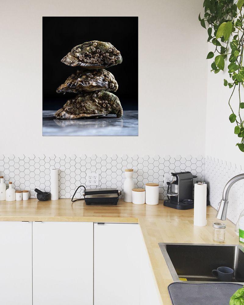 Drie Oesters Van Anoeska Van Slegtenhorst Op Canvas Behang En Meer Keuken Kunst Aan De Muur Keuken Kunst Behang