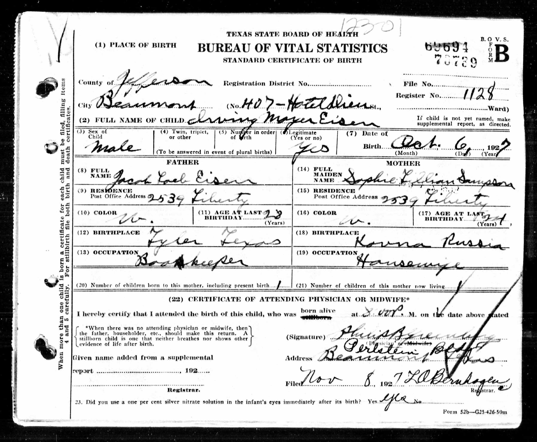 Irving Mayer Eisen Birth Date 6 Oct 1927 Gender Male