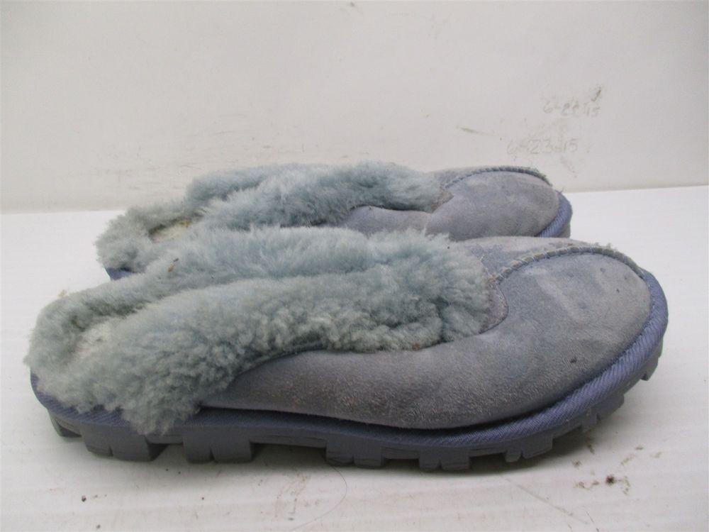 b2dd7f97234 UGG AUSTRALIA Slippers Women's Size 6 SHEEPSKIN Slip On Blue Leather ...